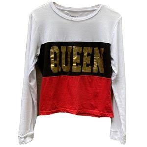 """QUEEN"" 100% cotton long sleeve tee shirt Large"